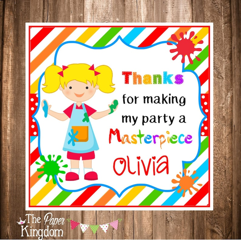 PRINTABLE Art Birthday Party Tags Choose Hair Color Arts and Crafts Party Printable Labels Printable Painting Party Gift Tags