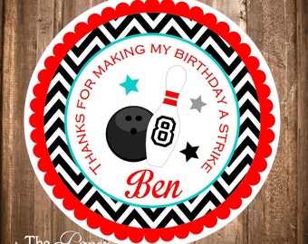 Printable Bowling Gift Tags, Bowling Party, Chevron Bowling Labels, Bowling Thank you Tags, Bowling Party Stickers, Printable Tags,You Print