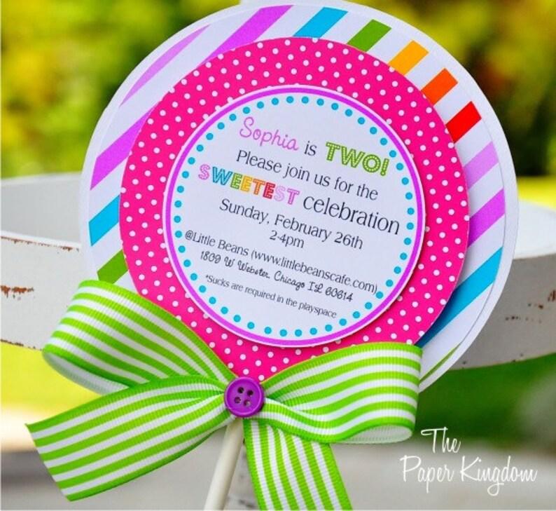 Lollipop Invitations Candyland Lollipop Invitations Etsy