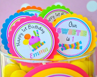 Candyland Cupcake Toppers,  Sweet Shoppe, Candyland Birthday Party --  Set of 12