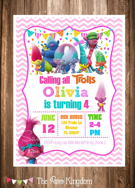 image about Printable Trolls Invitations named PRINTABLE Trolls Invitation, Trolls Birthday Invitation