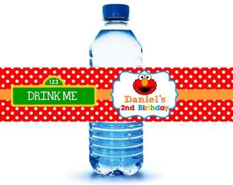 Elmo Water Bottle labels, Printable Elmo Water Bottle Labels, Sesame Street Birthday Party, Elmo Birthday Party, Digital Elmo Labels