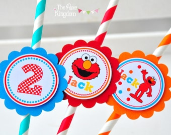 Elmo Paper Straws, Elmo Birthday Party, Personalized Party Straws, Elmo Birthday Party -Set o 12
