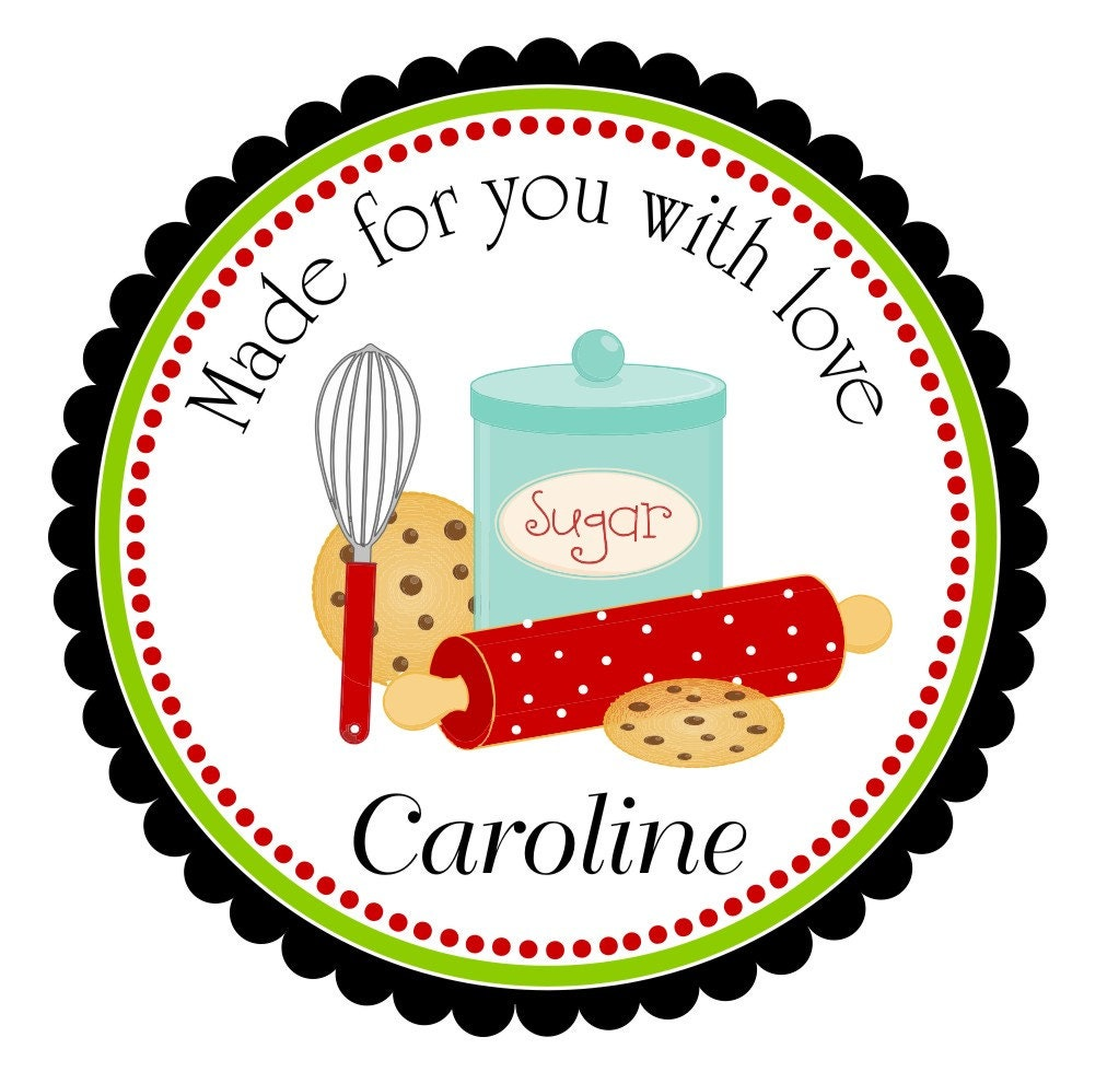 Kitchen stickers custom kitchen labels baking stickers rolling pin stickers whisk cookie favors baking favor stickers set of 12