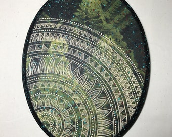 Hand Carved Fiddlehead Fern Mandala Woodcut Wall Art