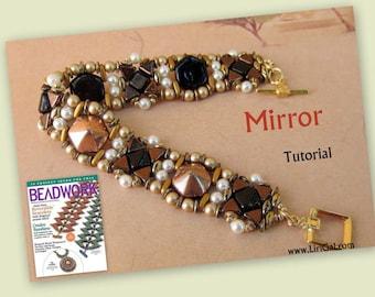 Tutorial Mirror SuperDuo Kheops par Puca Hex Pyramid beads  Beadwork Bracelet PDF