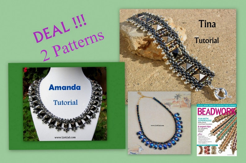 f9c4bb4f2618d Amanda and Tina SuperDuo and Pyramid spike beads Necklace and BraceletPDF  Tutorial