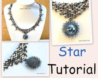 Star Rivoli-SuperDuo Beadwork Necklace PDF Tutorial