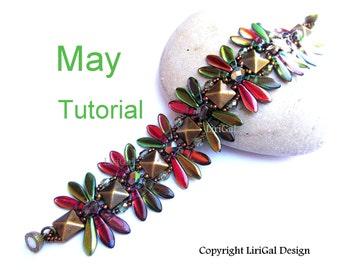 Tutorial May Daggers and Pyramid beads  Beadwork Bracelet PDF