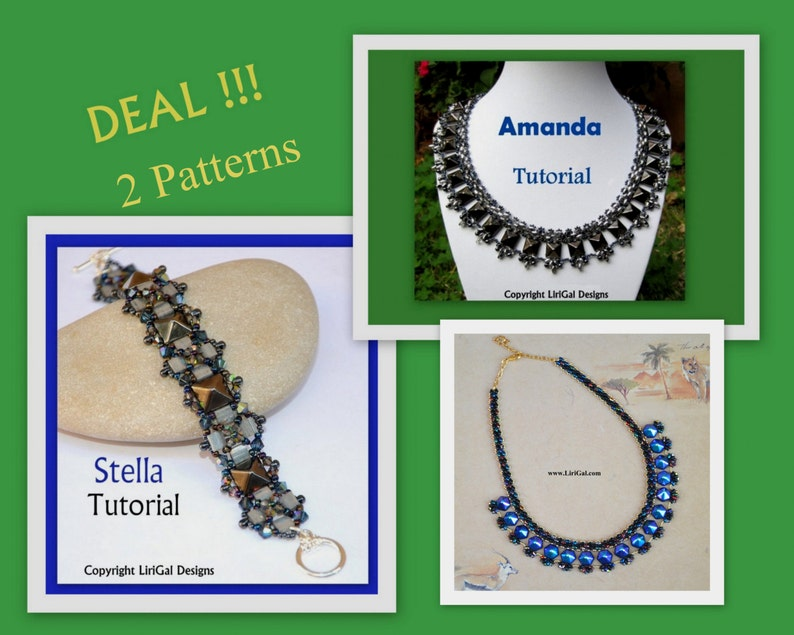 a2f59e71f7d46 2 patterns deal.Amanda and Stella SuperDuo and Pyramid beads Beadwork  Necklace and Bracelet PDF Tutorial