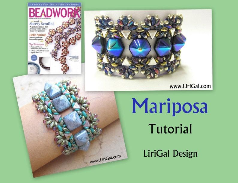 d16f7061e469d Tutorial Mariposa SuperDuo and Hex Pyramid beads Beadwork Bracelet PDF