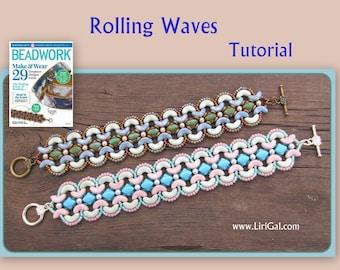 Tutorial Rolling Waves Arcos par Puca beads  Beadwork Bracelet PDF