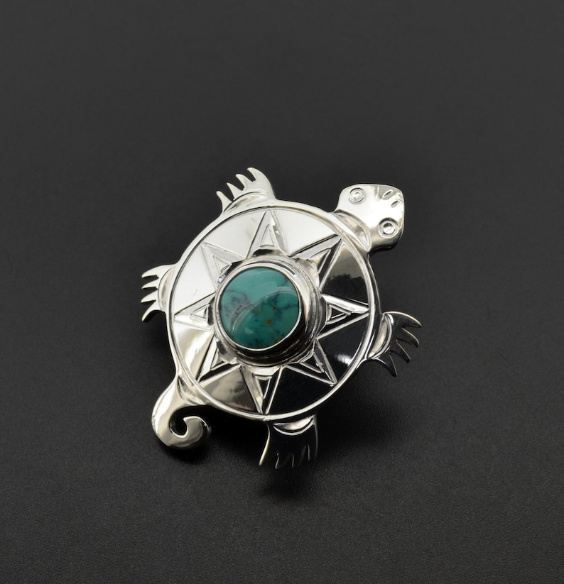 Native American Turtle Pin Pendant Brooch with Turquoise Northwest Coast First Nations