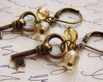 Skeleton Key ~ Brass Charm Earrings - Vintage Inspired Nostalgic -Steampunk - gold, bronze, brass