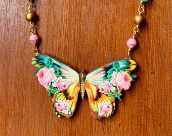 teal + pink ~ Floral Butterfly Necklace - bright colorful vintage images on wood, Czech glass, gold plated chain