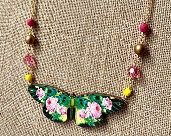 green + hot pink ~ Floral Butterfly Necklace - bright colorful vintage images on wood, Czech glass, gold plated chain