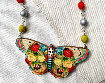 spotted yellow + red rose ~ Floral Butterfly Necklace - bright colorful vintage images on wood, Czech glass, silver plated chain