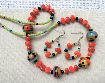 Lampwork Beaded Necklace & Earrings Set - beaded necklace, teardrop earrings, in orange, green, blue, red, yellow, black