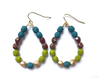 River Moss ~ Colorful Teardrop Earrings - Czech glass beads - bold, multicolor, beaded, gold, blue red tortoise chartreuse green gold