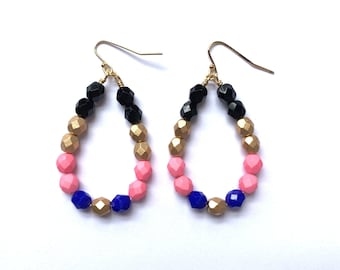 Glam ~ Colorful Teardrop Earrings - Czech glass beads - bold, multicolor, beaded, gold plated,, black gold pink blue