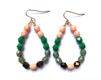 Mint Rose ~ Colorful Teardrop Earrings - Czech glass beads - bold, multicolor, beaded, gold, mint green tortoise pink bronze brown