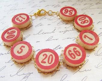 Bingo! ~ Red Vintage Bingo Game Pieces Bracelet - wooden, painted, brass, gold, red, chain, charm