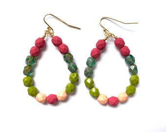 Echevaria ~ Colorful Teardrop Earrings - Czech glass beads - bold, multicolor, beaded, gold plated, teal chartreuse green pink fuchsia