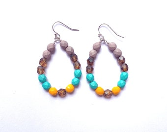 Halcyon ~ Colorful Teardrop Earrings - Czech glass beads - bold, multicolor, beaded, silver plated, gray tortoise teal yellow