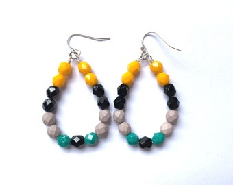 Warbler ~ Colorful Teardrop Earrings - Czech glass beads - bold, multicolor, beaded, silver plated, yellow black gray teal