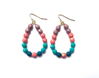 French Macaron ~ Colorful Teardrop Earrings - Czech glass beads - bold, multicolor, beaded, gold plated, purple pink teal blue