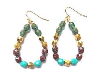 Stained Glass ~ Colorful Teardrop Earrings - Czech glass beads - bold, multicolor, beaded, gold plated, teal green red tortoise gold