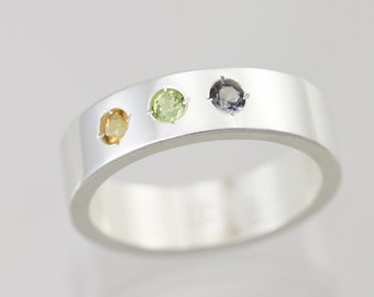 3 Stone Mothers Ring in Sterling Silver (Made to Order)