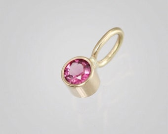 Details about  /Pink Tourmaline Charm Dangle LC 14K Rose Yellow White Gold Oct Birthstone