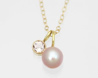 Pink Pearl & Morganite Drop Necklace in 14k Yellow Gold