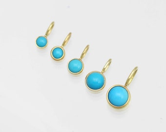 Turquoise Drop Pendants in 14k Yellow Gold (pendant only) various sizes available