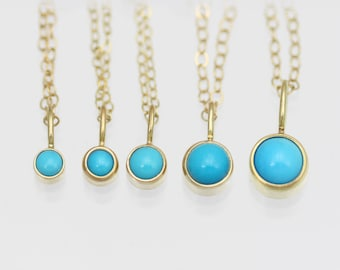 Turquoise Drop Necklaces in 14k Yellow Gold various sizes available