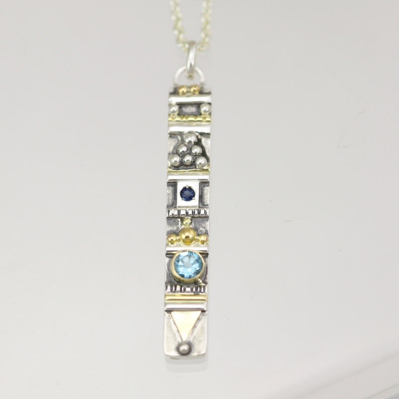 Totem Necklace with 2 Stones in Sterling Silver /& 14ky Gold with Blue Topaz and Sapphire