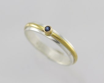 1 Stone Wrap Ring 14K, Sm. (Genuine Sapphire) (Made to Order)
