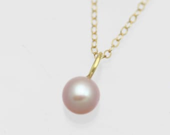 Pink Pearl Drop Necklace, Lrg. in 14k Yellow Gold