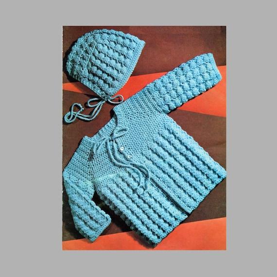 Pdf Crochet Pattern Baby Crochet Jacket And Bonnet 3ply Etsy