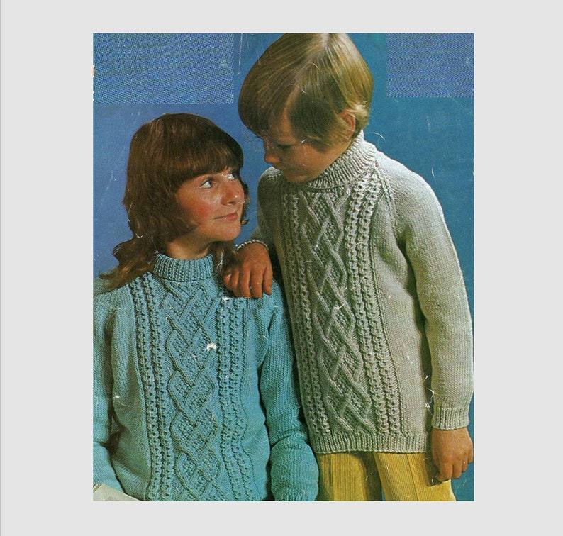 PDF Knitting Pattern / Childs Knitted Raglan sleeve Sweater / Aran Cables /  Winter Fashion / 8ply yarn / Instant Download PDF/ Post FREE