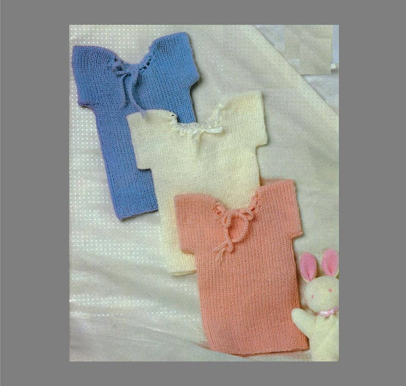 cd3903b73 PDF Baby Knitting Pattern   Baby Vests in 2ply 3ply or 4ply