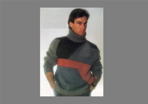 PDF Men's Sweater Pattern / Patchwork Sweater / Bulky Knit Sweater /  Vintage Knitting pattern / PDF Pattern / Post FREE Knitting Pattern