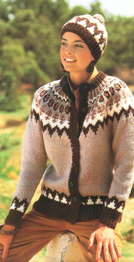 Pdf Knitting Pattern Womans Chunky Nordic Jacket Etsy