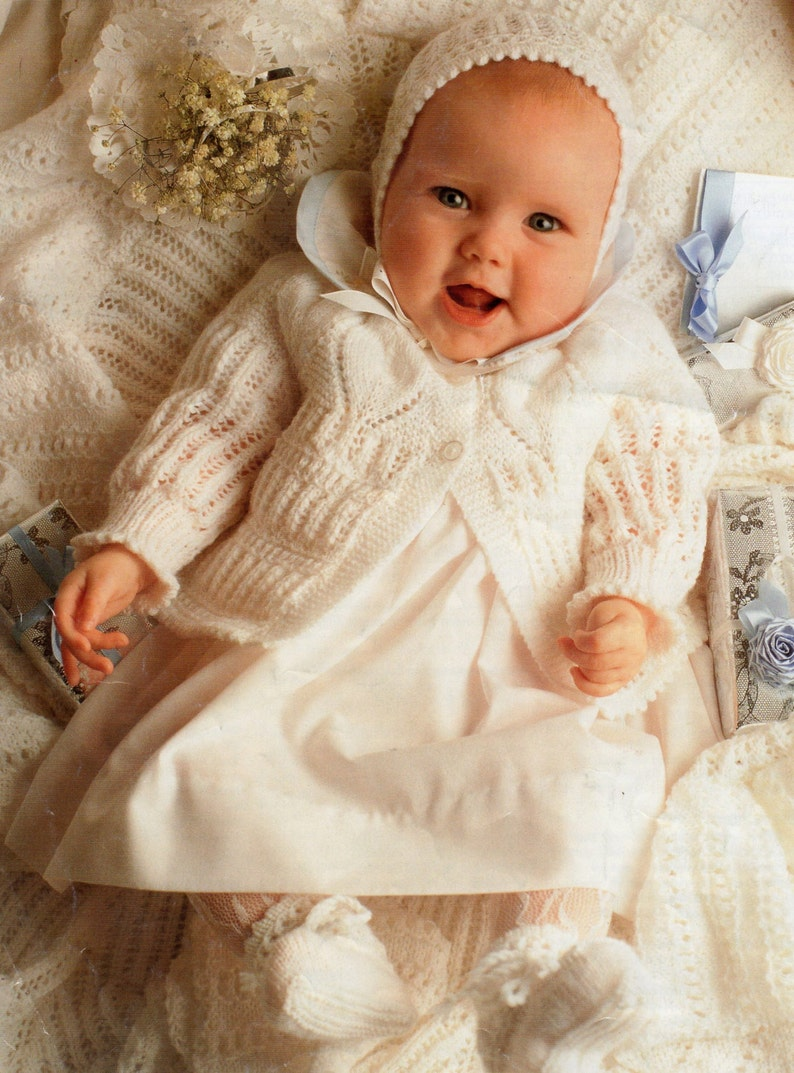 e75e71a8d331 PDF Baby Knitting Pattern   Cardigan Bonnet Booties and