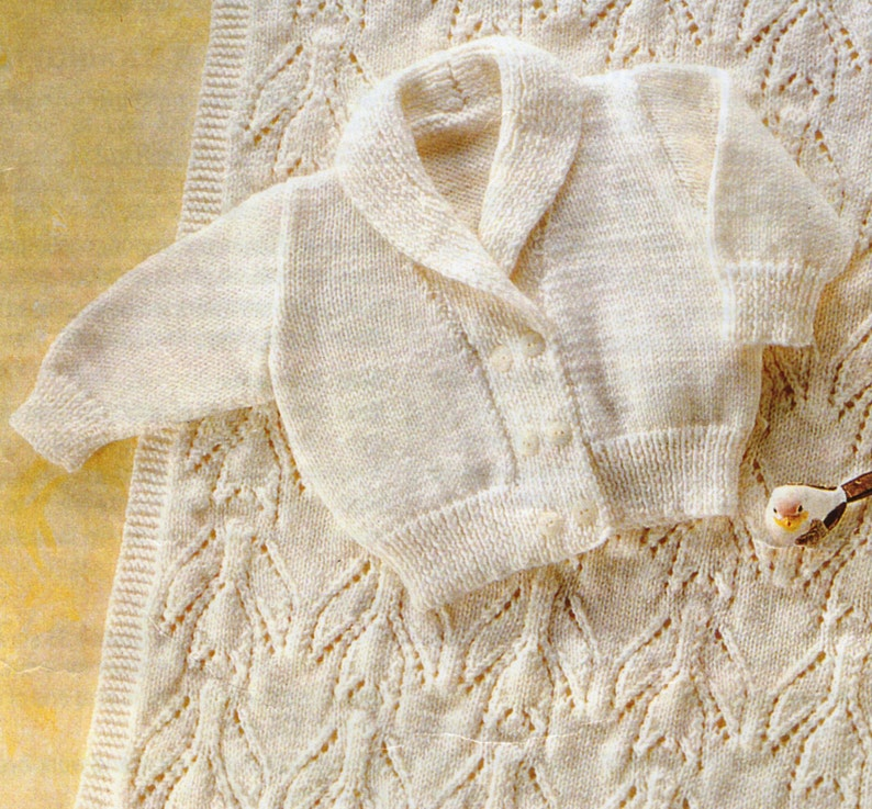 24b5a0bd0ad1f PDF Baby Knitting Pattern / Double Breasted Cardigan, Baby Blanket / 8ply  yarn Baby Knits / Digital Download / Post Free Knitting Patterns