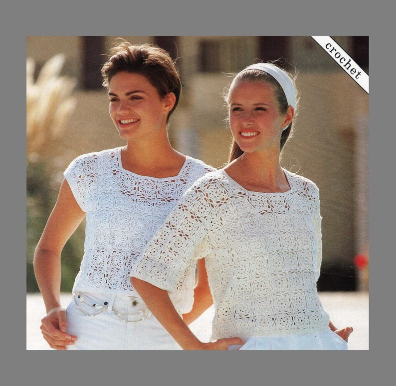 Pdf Crochet Pattern Womens Crochet Cotton Tops 4ply Etsy