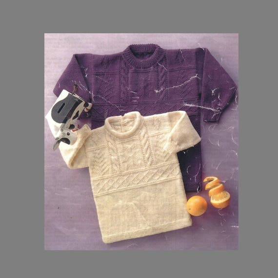 812d9504d PDF Pattern   Vintage Baby Toddler Knitting Pattern   2 styles of sweater  with cable panel   8ply yarn   Instant Download PDF  Post Free