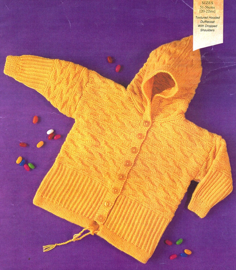 ab1b33a60415e PDF Knitting Pattern / Baby jacket Pattern / Textured Hooded Coat / Boy or  Girl Hoody /8 ply yarn / PDF instant download /Post Free Pattern