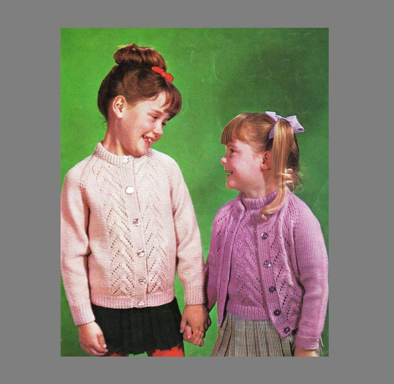 Knitting Pattern PDF / Vintage Children's Knitting Pattern / Girls Twinset  in 3 sizes/8 ply Yarn / Instant Download PDF/Post Free Patterns